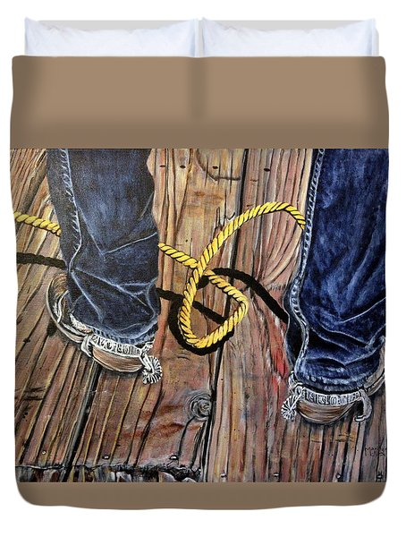 Roping Boots Duvet Cover by Marilyn  McNish