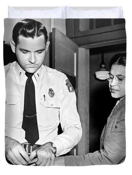Rosa Parks Gets Fingerprinted Duvet Cover