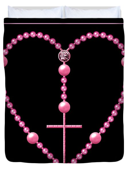 Rosary With Pink And Purple Beads Duvet Cover by Rose Santuci-Sofranko