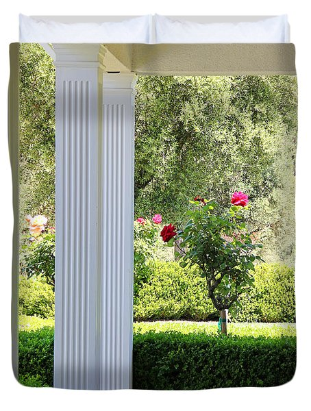 Rose And Front Porch Duvet Cover