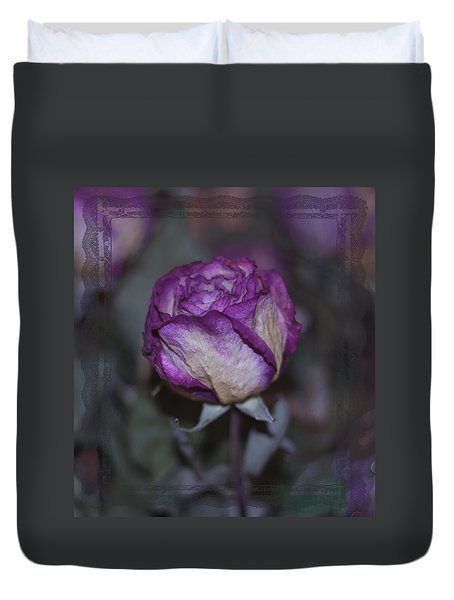 Duvet Cover featuring the photograph Rose Beauty After by Sandra Foster
