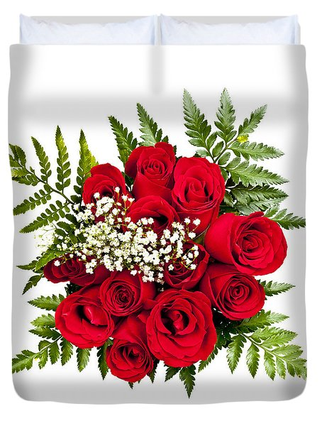 Rose Bouquet From Above Duvet Cover by Elena Elisseeva