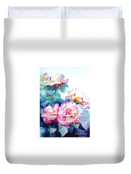 Duvet Cover featuring the painting Pink Rose Bush by Greta Corens