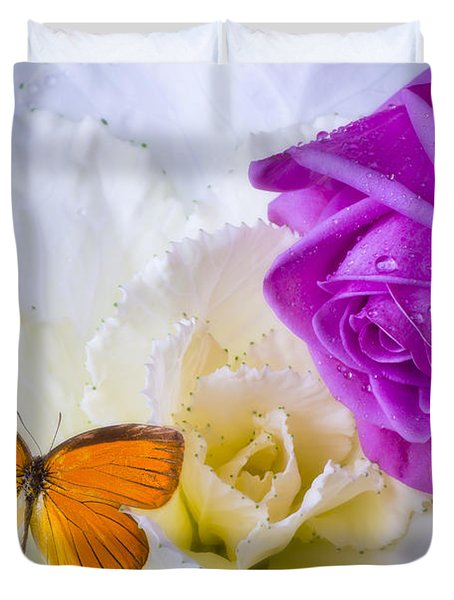 Rose Butterfly With Kale Duvet Cover