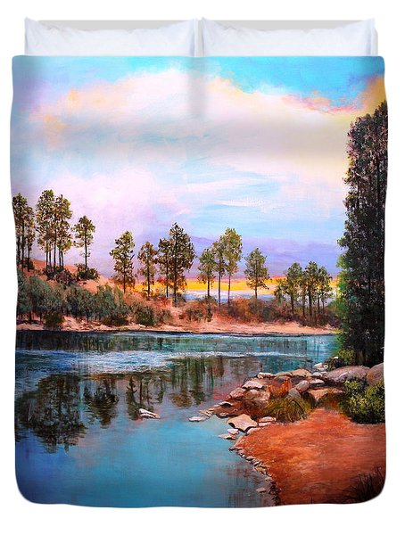 Duvet Cover featuring the painting Rose Canyon Lake 2 by M Diane Bonaparte