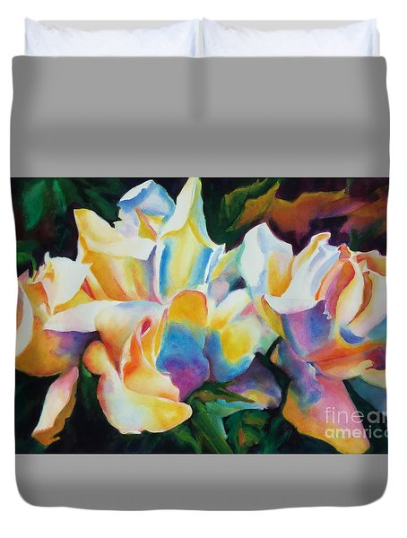 Rose Cluster Half Duvet Cover by Kathy Braud