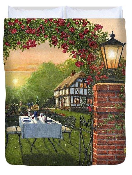Rose Cottage - Dinner For Two Duvet Cover by Richard Harpum