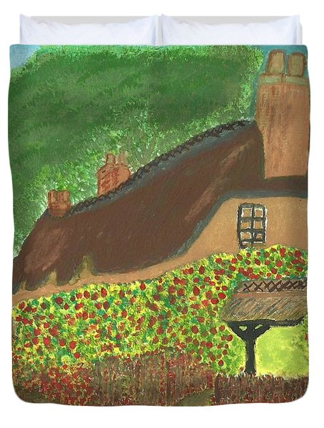 Duvet Cover featuring the painting Rose Cottage by Tracey Williams