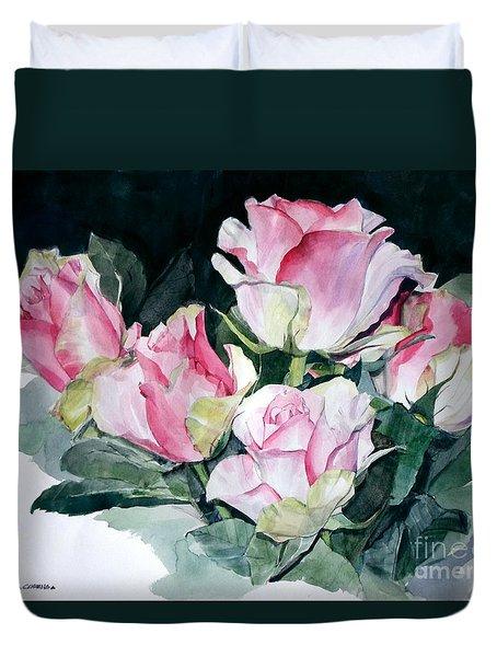 Watercolor Of A Pink Rose Bouquet Celebrating Ezio Pinza Duvet Cover