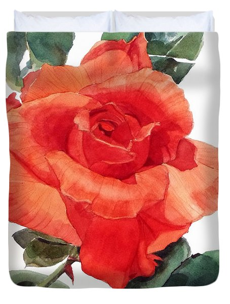Watercolor Of A Single Red Rose I Call Red Rose Filip Duvet Cover