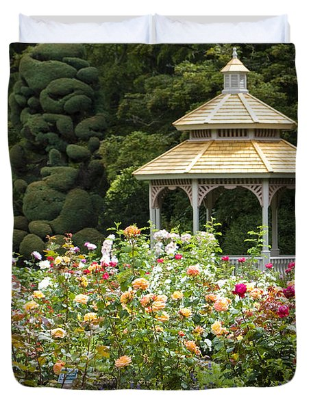 Duvet Cover featuring the photograph Rose Garden Gazebo by Sonya Lang