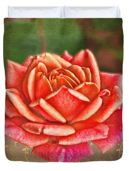Rose Greeting Card With Verse Duvet Cover by Debbie Portwood