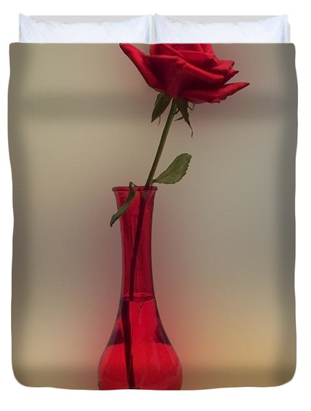 Rose In A Vase Duvet Cover by Thomas Woolworth