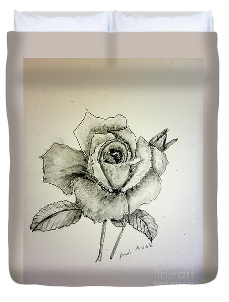 Rose In Monotone Duvet Cover