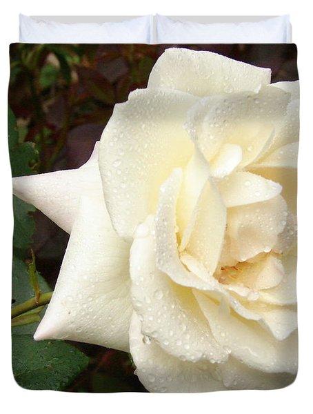 Rose In The Rain Duvet Cover