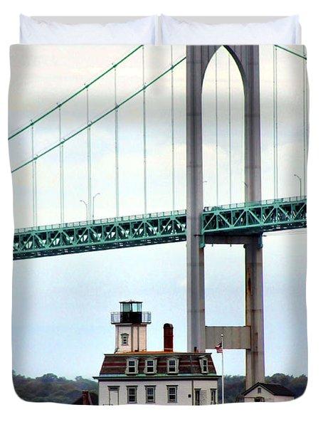 Rose Island Lighthouse Duvet Cover by Kristin Elmquist