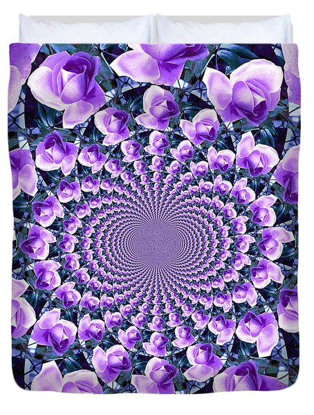 Duvet Cover featuring the photograph Rose Kaleidoscope by Judy Palkimas