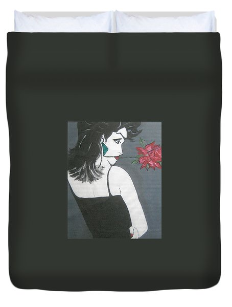 Duvet Cover featuring the painting Rose Lady by Nora Shepley
