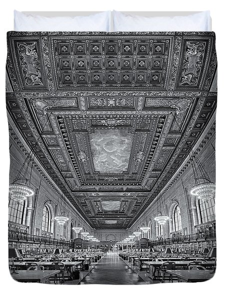 Rose Main Reading Room At The Nypl Bw Duvet Cover by Susan Candelario