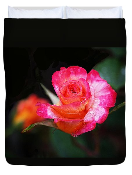 Rose Mardi Gras Duvet Cover by Rona Black