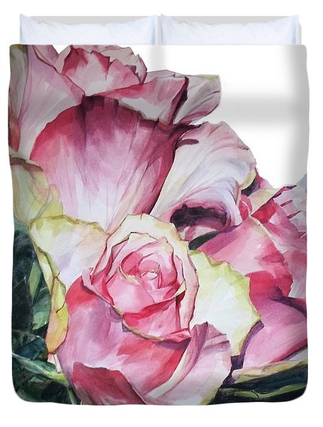 Watercolor Of A Bouquet Of Pink Roses I Call Rose Michelangelo Duvet Cover