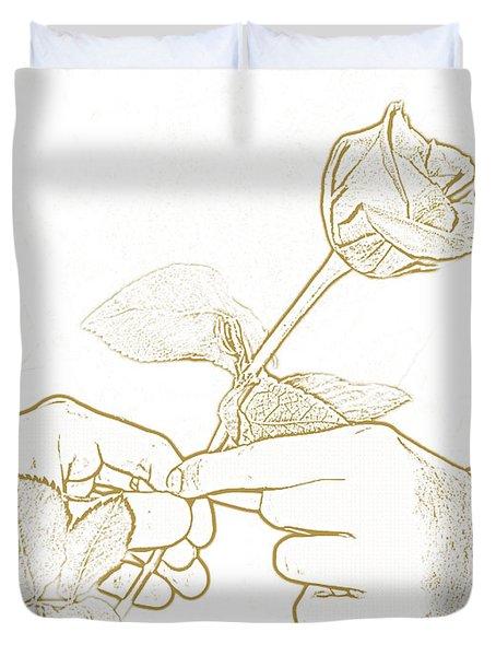 Rose Outline By Jan Marvin Studios Duvet Cover