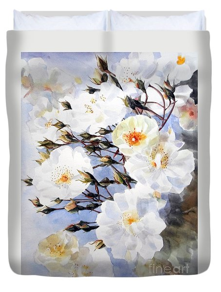 Wartercolor Of White Roses On A Branch I Call Rose Tchaikovsky Duvet Cover