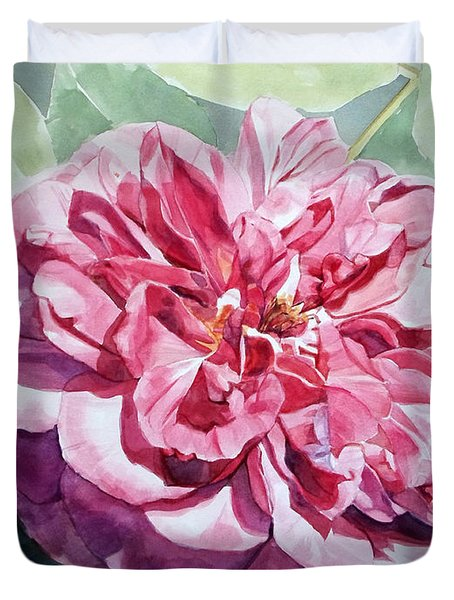 Watercolor Of A Pink Rose In Full Bloom Dedicated To Van Gogh Duvet Cover