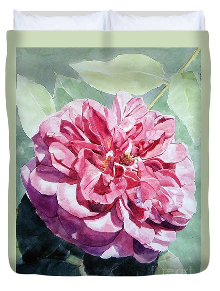 Watercolor Of A Pink Rose In Full Bloom Dedicated To Van Gogh Duvet Cover