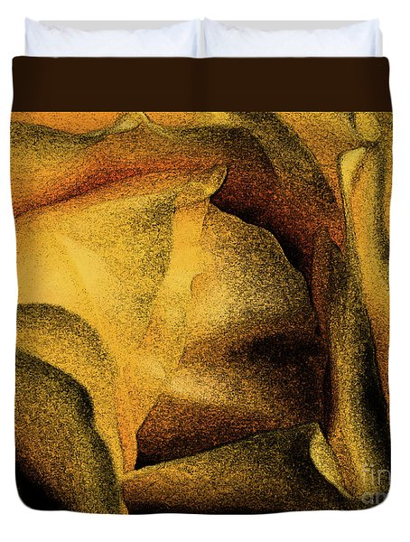 Duvet Cover featuring the photograph Rose Yellow Fresco by Jean OKeeffe Macro Abundance Art
