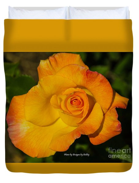 Duvet Cover featuring the photograph Rose Yellow Red by Debby Pueschel