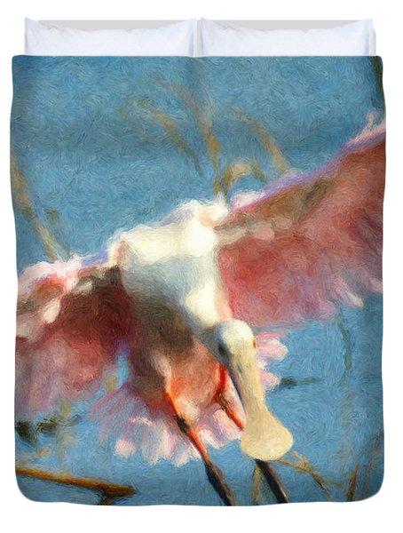 Da203 Roseate Spoonbill By Daniel Adams Duvet Cover