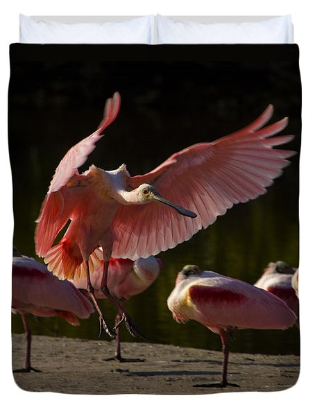 Duvet Cover featuring the photograph Roseate Spoonbill Landing-signed by J L Woody Wooden
