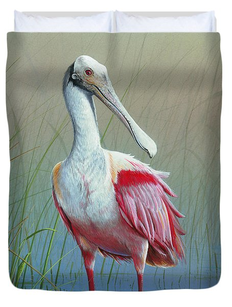 Roseate Spoonbill Duvet Cover by Mike Brown