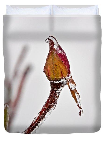 Rosebud Frozen In Ice Art Prints Duvet Cover