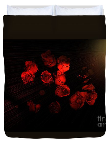 Roses And Black Duvet Cover