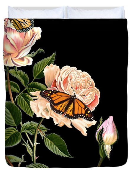 Roses And Butterflies Duvet Cover