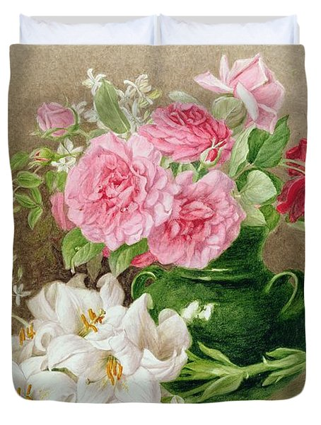 Roses And Lilies Duvet Cover by Mary Elizabeth Duffield