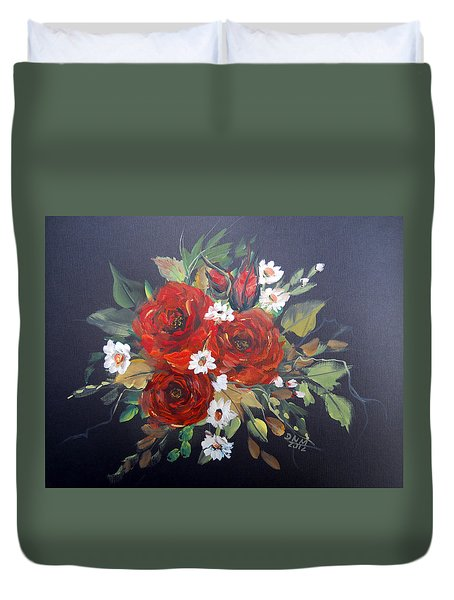 Duvet Cover featuring the painting Roses by Dorothy Maier