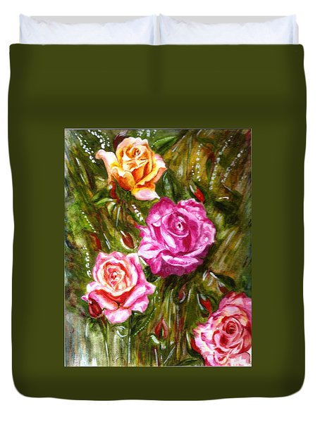 Duvet Cover featuring the painting Roses by Harsh Malik