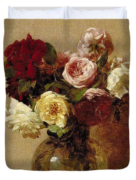 Roses Duvet Cover by Ignace Henri Jean Fantin-Latour
