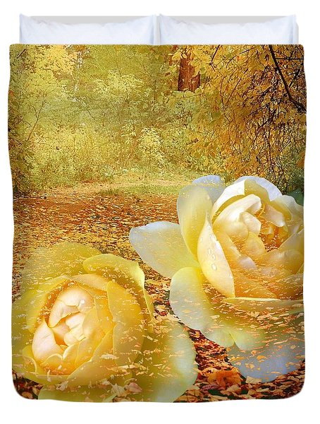 Roses In The Woods In Autumn Duvet Cover by Annie Zeno