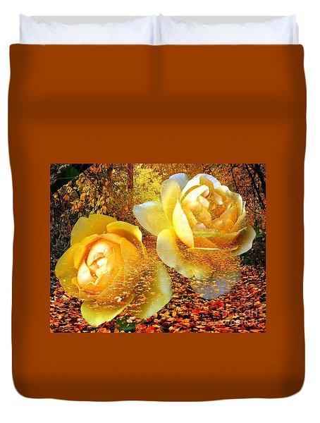 Roses On An Autumn Path Duvet Cover by Annie Zeno