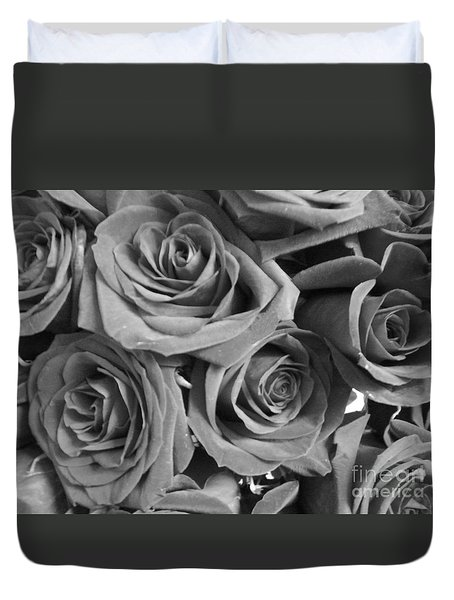 Duvet Cover featuring the photograph Roses On Your Wall Black And White  by Joseph Baril
