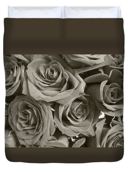 Duvet Cover featuring the photograph Roses On Your Wall Sepia by Joseph Baril