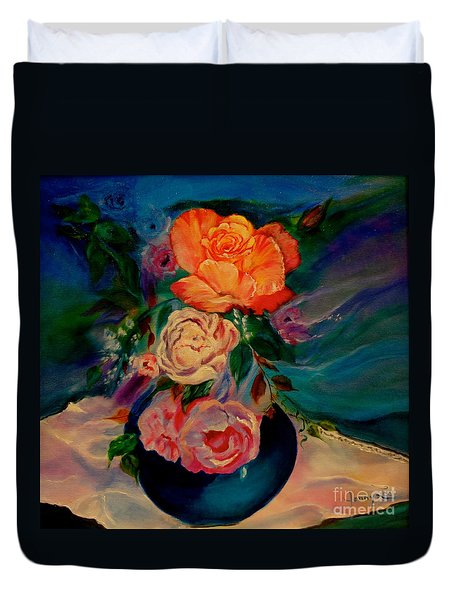 Duvet Cover featuring the painting Roses Roses Roses by Jenny Lee