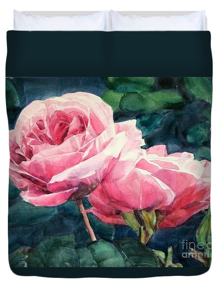 Watercolor Of Two Luscious Pink Roses Duvet Cover
