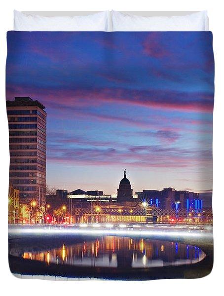 Duvet Cover featuring the photograph Rosie Hackett Bridge - Dublin by Barry O Carroll