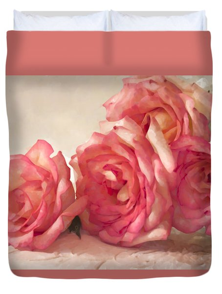 Duvet Cover featuring the photograph Rosy Elegance Digital Watercolor by Sandra Foster