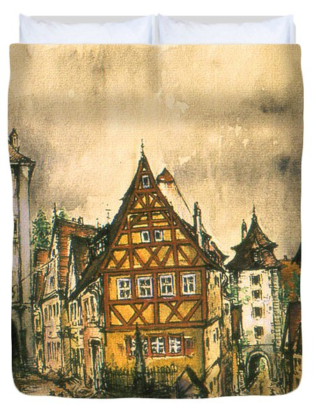 Rothenburg Bavaria Germany - Romantic Watercolor Duvet Cover